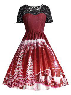 Print Lace Panel Vintage Party Dress - Dark Red S