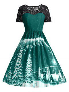 Print Lace Panel Vintage Party Dress - Green M