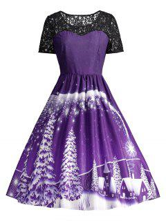 Ugly Christmas Party Lace Panel Vintage Dress - Purple 2xl