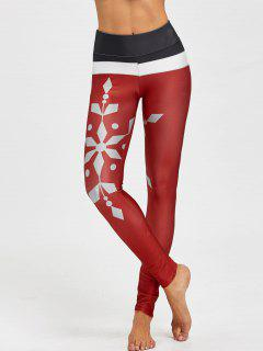 Christmas Snowflake Print Color Block Leggings - Wine Red L