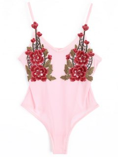 Flower Applique Schiere Mesh-Bodysuit - Pink S