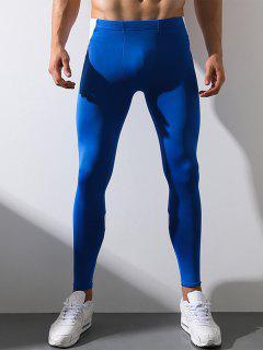 Color Block Panel Elastic Waist Stretchy Fleece Gym Pants - Color Blue M