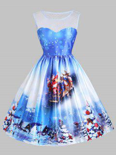 Christmas Sled Tree Mesh Panel Dress - Blue Xs