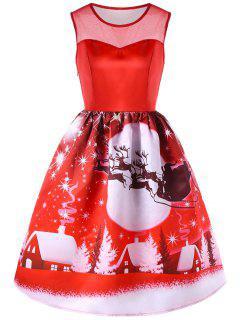 Vestido Sin Mangas Con Panel De Malla Estampado De Navidad - Rojo Xl
