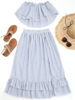 Off Shoulder Striped Top With Overlay Maxi Shorts - Blue And White L