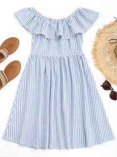 Off Shoulder Ruffles Striped Beach Dress - Blue And White M