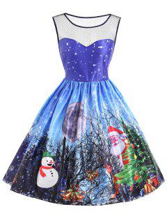Christmas Santa Claus Snowman Mesh Panel Dress - Blue Xs