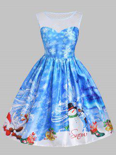 Christmas Snowman Snowflake Mesh Panel Dress - Blue L