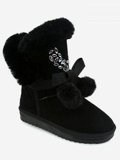 Pompom Bow Beading Snow Boots - Black 39