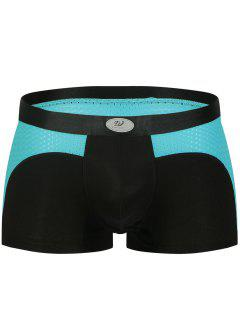 U Convex Pouch Color Block Openwork Panel Boxer Brief - Black S