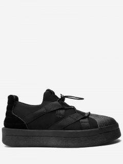 Tie-up Shell Toe Athletic Skate Shoes - Black 42