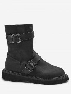 Buckle Strap PU Leather Ankle Boots - Black 37