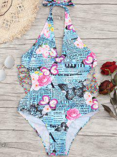 Graphic Back Tied One Piece Swimwear - L