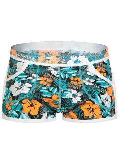 Elastic Waist Convex Pouch Florals Print Undershorts - M
