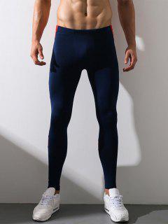 Color Block Panel Elastic Waist Stretchy Fleece Gym Pants - Deep Blue M