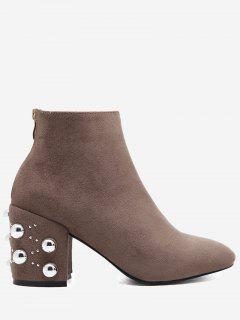 Chunky Heel Rivets Rhinestone Boots - Khaki 37