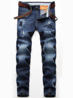 Straight Leg Whisker Design Destroyed Jeans - Denim Blue 40