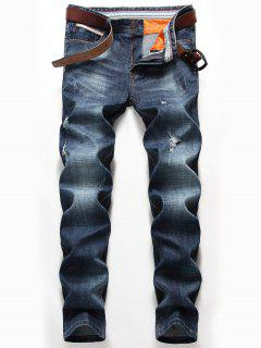 Straight Leg Whisker Distressed Jeans - Denim Blue 36