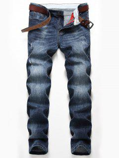 Straight Leg Distressed Faded Jeans - Denim Blue 40