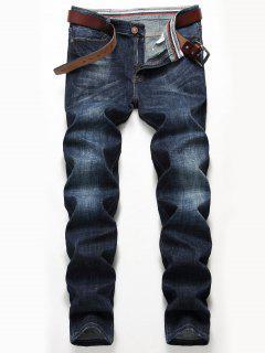 Zip Fly Straight Leg Classic Jeans - Denim Blue 34