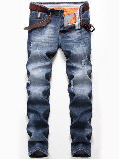 Verblasste Jeans Mit Reißverschluss Und Geradem Distressed - Denim Blau 40