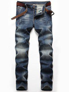Zip Fly Whisker Jeans With Straight Leg - Denim Blue 38