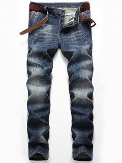 Zip Fly Whisker Jeans Mit Geradem Bein - Denim Blau 38