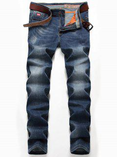 Zipper Fly Straight Leg Classic Jeans - Denim Blue 34