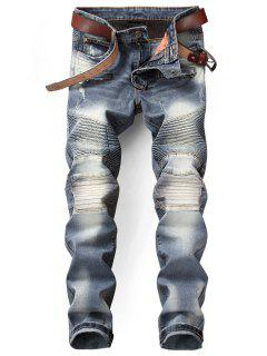 Slim Fit Zip Fly Distressed Biker Jeans - Denim Blue 32