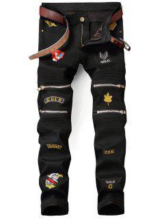 Zip Embellished Patched Biker Jeans - Black 32