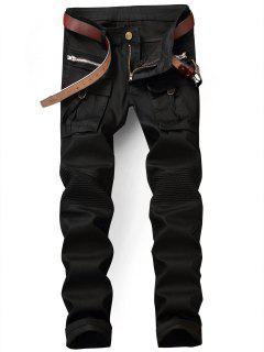 Flap Pocket Zip Embellished Biker Jeans - Black 38