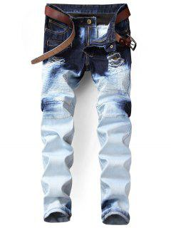 Tie Dyed Distressed Biker Jeans - White 34