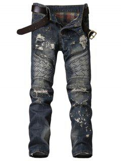 Zipper Fly Panel Geometric Suture Paint Splatter Ripped Jeans - Blue 32