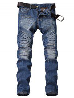 Zipper Fly Panel Geometric Suture Bleached Ripped Jeans - Blue 32