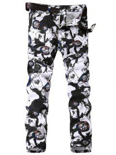 Zipper Fly Paint Splatter Geometric Print Jeans - Black White 38