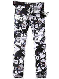 Zipper Fly Paint Splatter Geometric Print Jeans - Black White 38