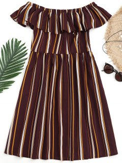 Striped Off Shoulder Ruffle Beach Dress - Burgundy S