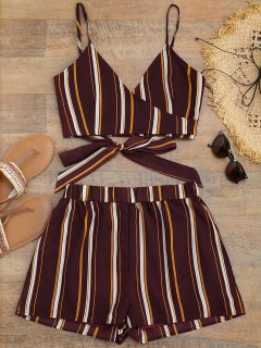Striped Cropped Wrap Top With Shorts - Burgundy M