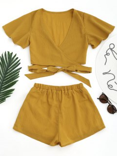 Cropped Wrap Top With Shorts - Ginger M