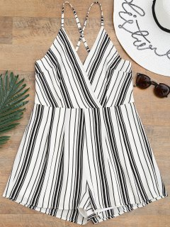 Cami Surplice Striped Beach Romper - White And Black M