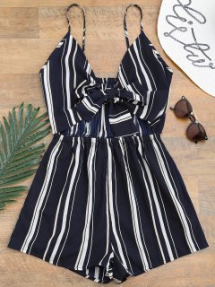 Tied Cami Striped Beach Romper - Deep Blue L