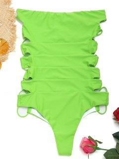 Trägerloser Riemchen Einteiliger Badeanzug - Apfelgrün L