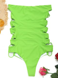 Trägerloser Riemchen Einteiliger Badeanzug - Apfelgrün S