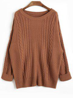 Drop Shoulder Plain Cable Knit Sweater - Coffee