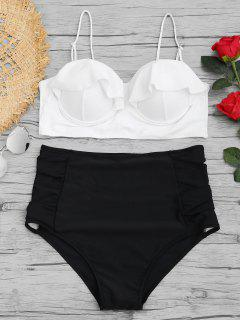 High Waisted Underwire Plus Size Bikini Set - White 3xl