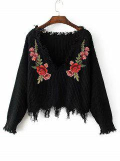 V Neck Frayed Floral Embroidered Pullover Sweater - Black