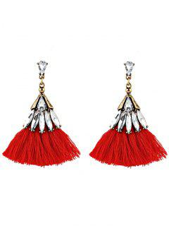 Crystal Embellished Fan Shape Fringed Drop Earrings - Red