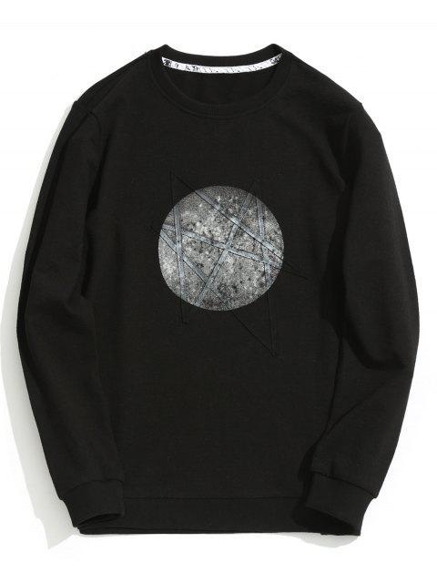 Sweat-shirt Imprimé Ras du Cou - Noir XL Mobile