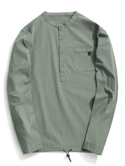 sale Half Button Letter Shirt - LIGHT GREEN 2XL Mobile