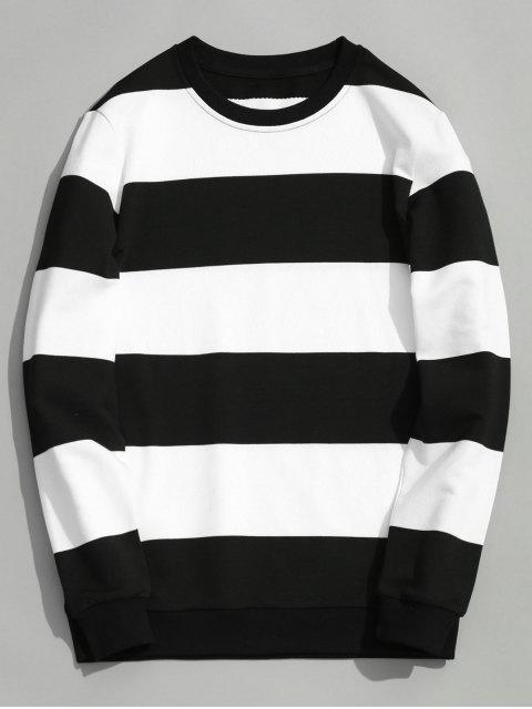 buy Color Block Crew Neck Knitwear - WHITE AND BLACK 3XL Mobile